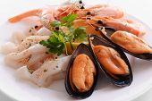 Tasty seafood on plate close-up