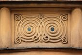 Ornamental decoration on the Art Nouveau building in Prague, Czech Republic.