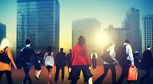 People Commuter Walking Rush Hour Cityscape Concept