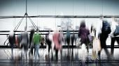 People Commuter Travel Walking Crowd Concept