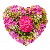 Isolated Summers flowers heart floral collage concept