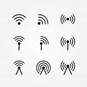 Vector Set of Wireless and Wifi Icons