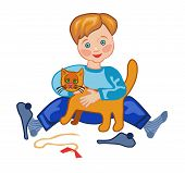 A Boy Plays With A Cat