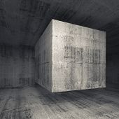Dark Gray Concrete Room Interior With Flying Cube