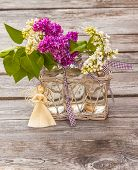 Lilac Bouquet And Straw Angel Figurine