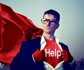 Superhero Businessman Help Word Concept