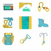 Flat icons vector collection of mountaineering equipment