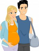 Illustration of an Expecting Couple Walking Side by Side