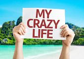 My Crazy Life sign with a beach on background