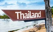 Thailand wooden sign with a lake background