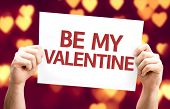Be My Valentine card with heart bokeh background
