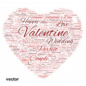 Vector concept or conceptual red love or Valentine`s Day wordcloud text in shape of heart symbol isolated on white background