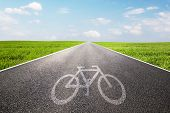 Bike symbol on long straight asphalt road, way. Conceptual - travel, ecological transportation etc.