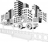 Illustration of Santa Claus driving car through the city