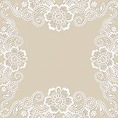 White flower frame, lace ornament. Vector illustration.
