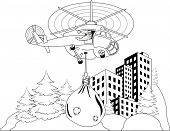 Happy Santa Claus flying in helicopter with christmas gifts