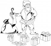 Illustration of Santa Claus with a bag of Christmas presents