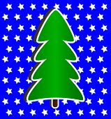 Modern Christmas Tree on blue and stars background