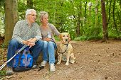 Happy senior couple with dog taking a break in a forest