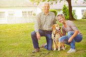 Happy senior couple sitting with house and labrador retriever in a garden