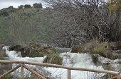 Mountain Stream, Flood. Flooded Path. Closed Trail. Ruidera National Park. Astute Stream.