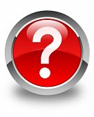 Question Mark Icon Glossy Red Round Button