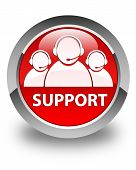 Support (Customer Care Team Icon) Glossy Red Round Button