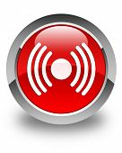Network Signal Icon Glossy Red Round Button