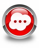 Brain Icon Glossy Red Round Button