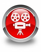 Video Camera Icon Glossy Red Round Button