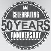 Celebrating 50 Years Anniversary Retro Label, Vector Illustration