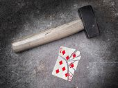Hammer With A Broken Card, Eight Of Diamonds