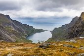 picture of reining  - Dramatic view to mountains and fjord near Reine Lofoten Norway