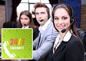 Call center operators at office, Round-the-clock support concept