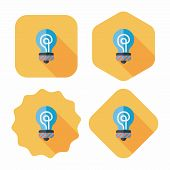 Light Bulb Flat Icon With Long Shadow, eps10