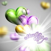 stock photo of flashing  - vector illustration of Mardi Gras or Shrove Tuesday lettering label on the flying balloon hearts background with shiny explosion - JPG