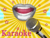 Woman with silver lips and microphone, karaoke concept