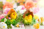 Easter decoration with chicks,eggs and flowers