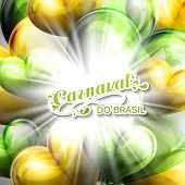 vector illustration of brazilian Carnival lettering label on the flying balloon hearts background wi