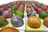 Expressive Perspective Look At Hand Painted And Decorated Colorful Eggs For Easter