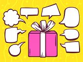 Illustration Of Gift Box With Speech Comics Bubbles On Yellow Pattern Background.