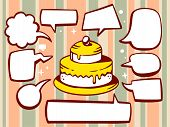 Illustration Of Cake With Speech Comics Bubbles On Pattern Background.
