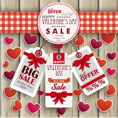 Emblem Hearts Valentinsday Price Stickers Wood