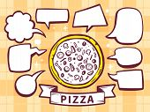 Illustration Of Pizza With Speech Comics Bubbles On Yellow Pattern Background.
