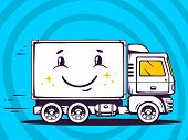 Illustration Of Smile Truck Free And Fast Delivering To Customer On Blue Background.