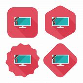 Shopping Sale Tv Flat Icon With Long Shadow,eps10