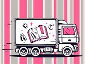 Illustration Of Truck Free And Fast Delivering Open Book To Customer On Pattern Background.