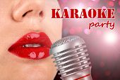 Woman with red lips and retro microphone on night lights background, karaoke party concept