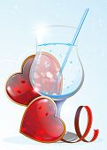 Transparent Drink And Valentines Hearts
