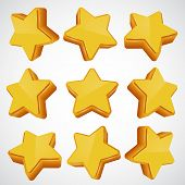 Golden star. different angles.